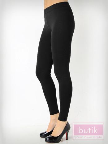 Czarne gładkie legginsy bawełniane                                  zdj.                                  2