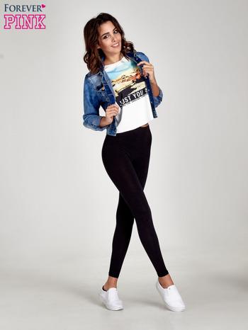 Czarne gładkie legginsy damskie basic                                  zdj.                                  9