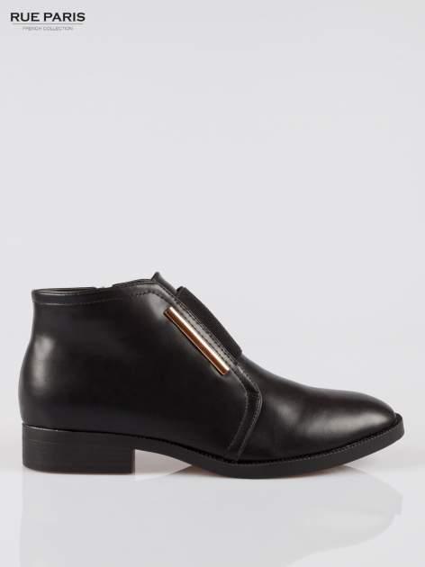 Czarne gładkie niskie botki z gumą                                  zdj.                                  1