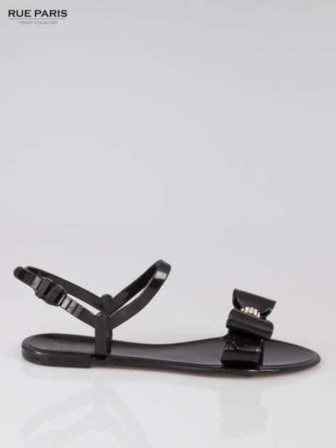 Czarne gumowe sandały meliski z kokardą