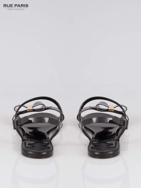 Czarne gumowe sandały meliski z kokardą                                  zdj.                                  3