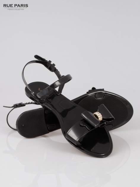 Czarne gumowe sandały meliski z kokardą                                  zdj.                                  4