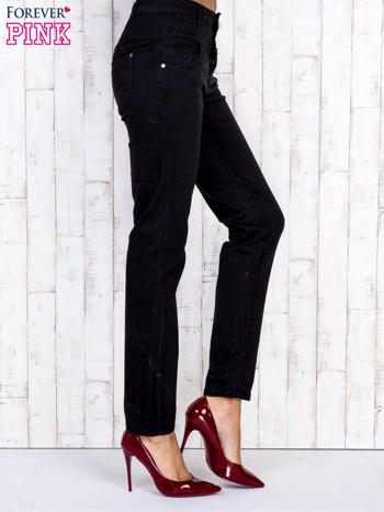 Czarne jeansowe spodnie skinny z wysokim stanem                                  zdj.                                  3