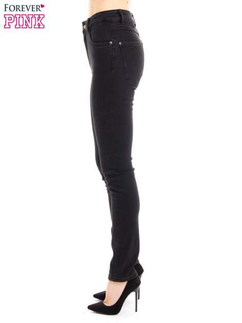 Czarne jeansy rurki z wysokim stanem                                  zdj.                                  3