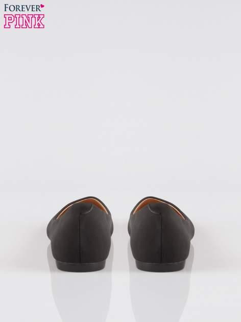 Czarne klasyczne baleriny z okrągłym noskiem wykonane z imitacji zamszu                                  zdj.                                  3