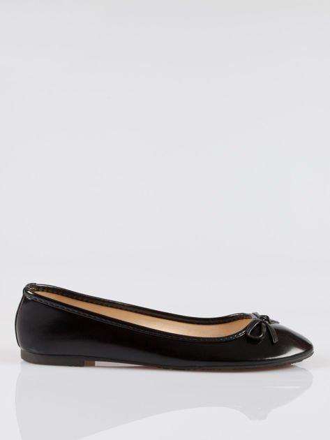 Czarne klasyczne lakierowane baletki faux polish leather z kokardką                                  zdj.                                  1