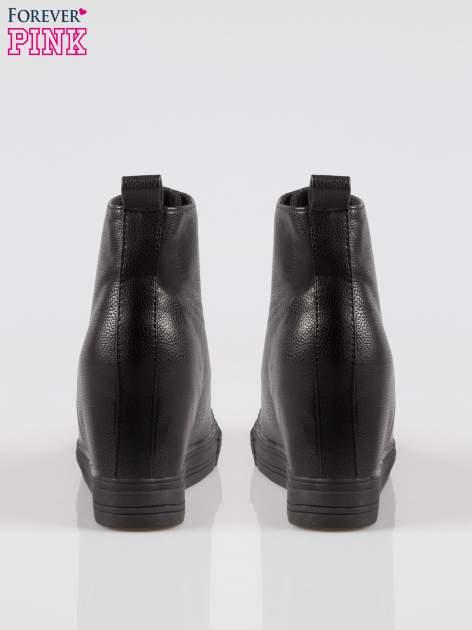 Czarne klasyczne trampki na koturnie sneakersy                                  zdj.                                  3