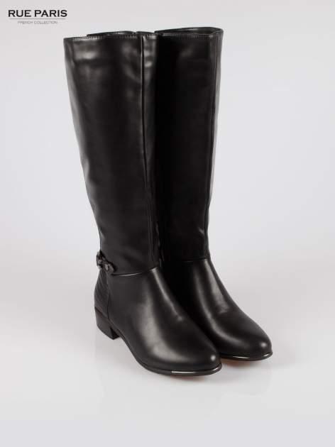 Czarne kozaki z klamerką w stylu biker boots                                  zdj.                                  2
