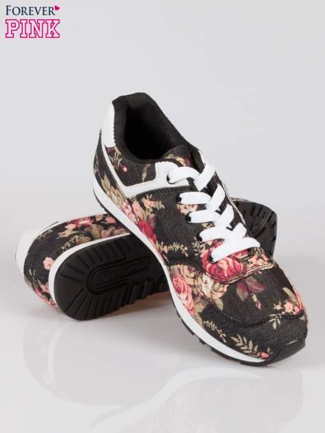 Czarne kwiatowe buty sportowe w stylu casual                                  zdj.                                  5