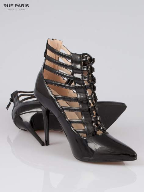 Czarne lakierowane botki lace up Carra                                  zdj.                                  4