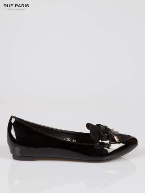 Czarne lakierowane mokasyny faux polish leather z kokardką                                  zdj.                                  1