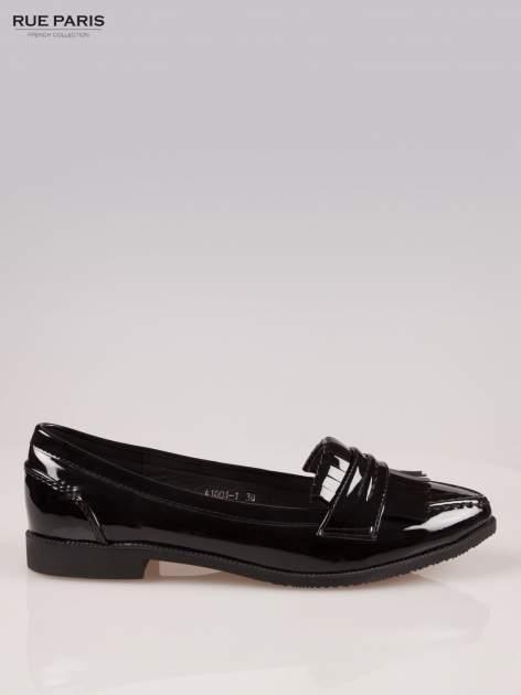 Czarne lakierowane mokasyny z noskiem w szpic                                  zdj.                                  1