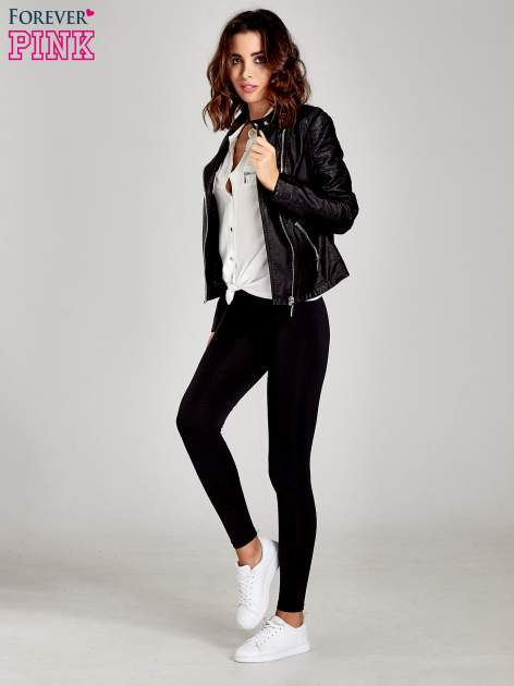 Czarne legginsy basic z lekkim ociepleniem                                  zdj.                                  8