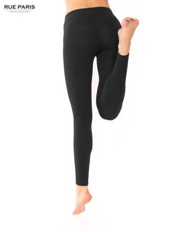 Czarne legginsy bawełniane z gumką w pasie                                  zdj.                                  4