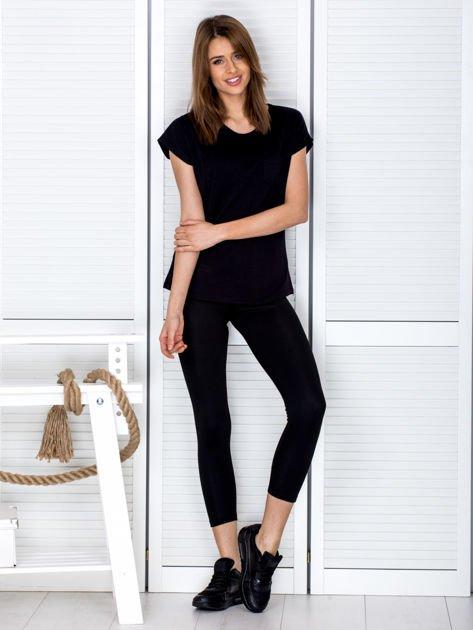 Czarne legginsy z kolorową taśmą z boku                              zdj.                              5