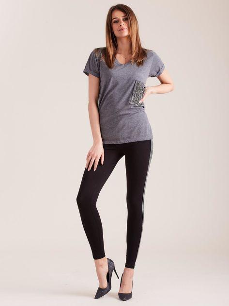 Czarne legginsy z lampasami                              zdj.                              4