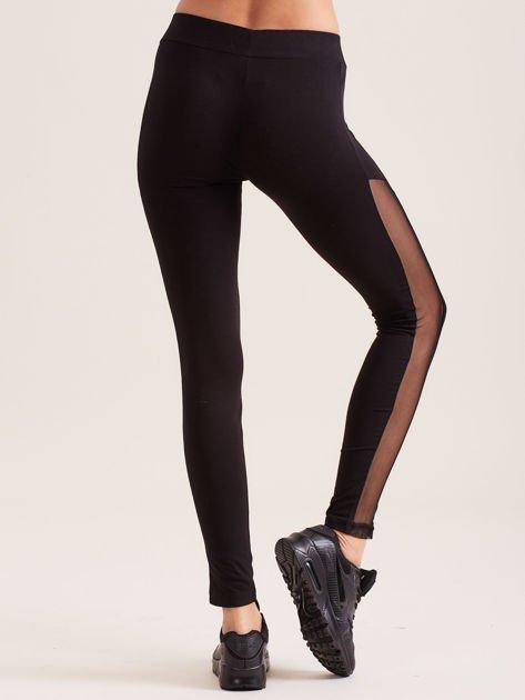 Czarne legginsy z siateczkowymi modułami                               zdj.                              2