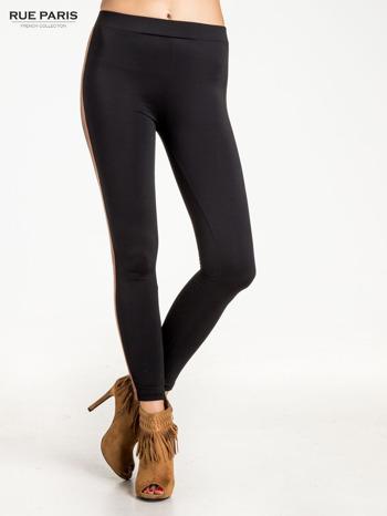Czarne legginsy ze skórzanym lampasem