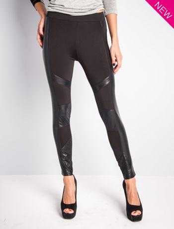 Czarne legginsy ze skórzanymi przeszyciami