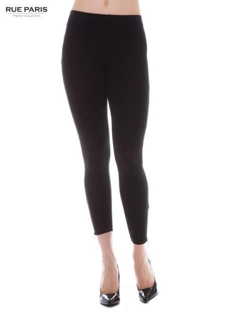 Czarne legginsy ze złotym suwakiem na dole                                  zdj.                                  1