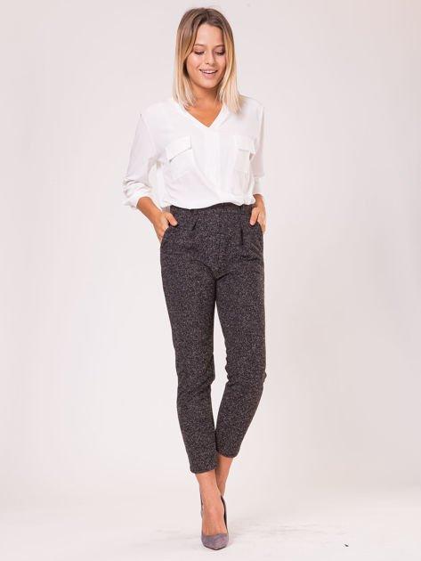 Czarne materiałowe spodnie melange                                  zdj.                                  2