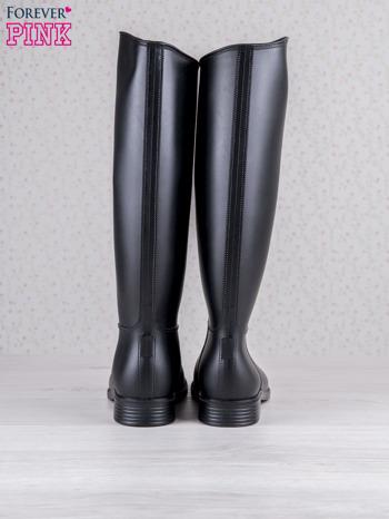 Czarne matowe kalosze do kolan na płaskim obcasie                                  zdj.                                  3
