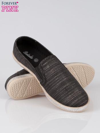 Czarne melanżowe buty slip-on                                  zdj.                                  4