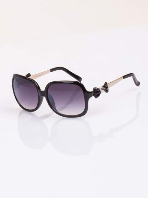 Czarne okulary klasyczne MUCHY z piękną kokardą na zauszniku                                   zdj.                                  1