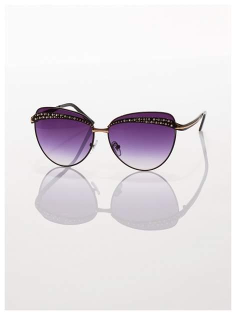 Czarne okulary przeciwsłoneczne z cyrkoniami w stylu RETRO                                   zdj.                                  3