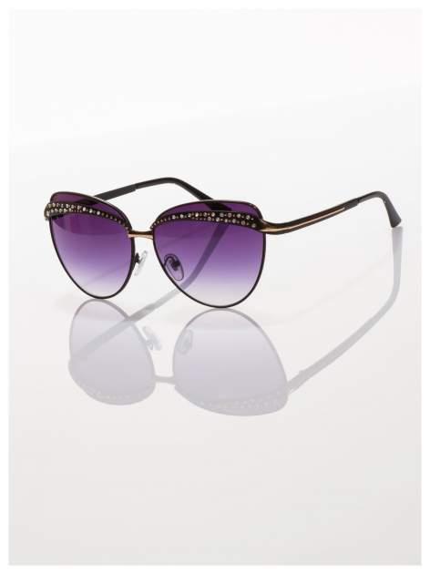 Czarne okulary przeciwsłoneczne z cyrkoniami w stylu RETRO                                   zdj.                                  2