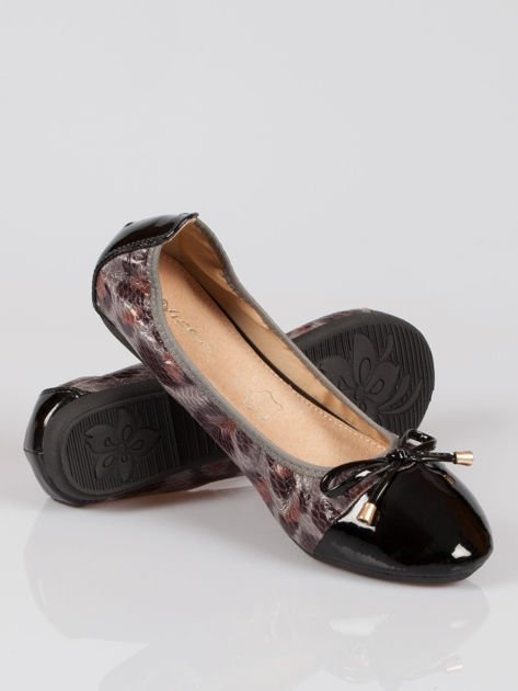 Czarne panterkowe balerinki faux leather Wild na gumkę                                  zdj.                                  4