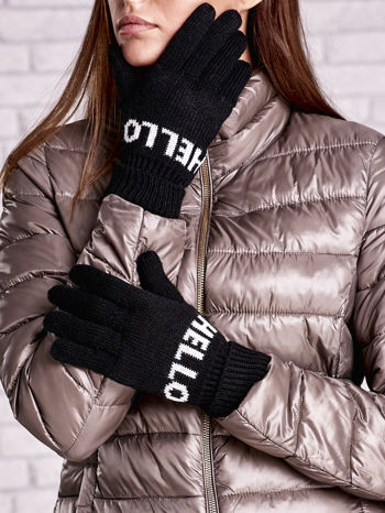 Czarne rękawiczki HELLO na pięć palców z wywijanym ściągaczem                                  zdj.                                  1