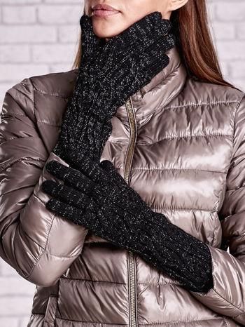 Czarne rękawiczki o warkoczowym splocie z błyszczącą nicią                                  zdj.                                  1
