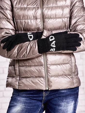 Czarne rękawiczki z napisem BAD na pięć palców                                  zdj.                                  2