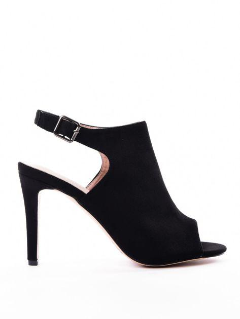 Czarne sandały SABATINA z głęboko wyciętą cholewką                               zdj.                              1