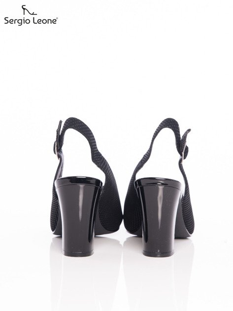 Czarne sandały Sergio Leone w tłoczone kropeczki                                  zdj.                                  3