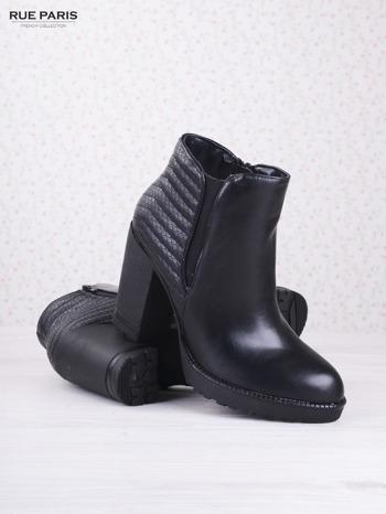 Czarne skórzane botki Mia z gumkowaną wstawką i pikowanym tyłem na słupku                                  zdj.                                  3