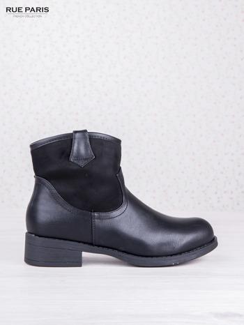 Czarne skórzane botki dual eco leather z zamszową cholewką za kostkę na klocku                              zdj.                              1