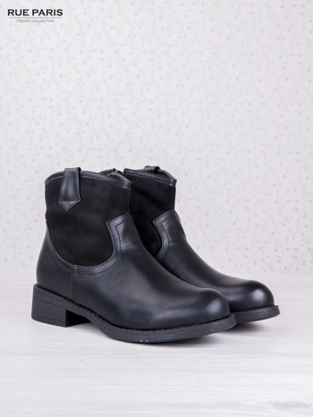 Czarne skórzane botki dual eco leather z zamszową cholewką za kostkę na klocku                                  zdj.                                  2