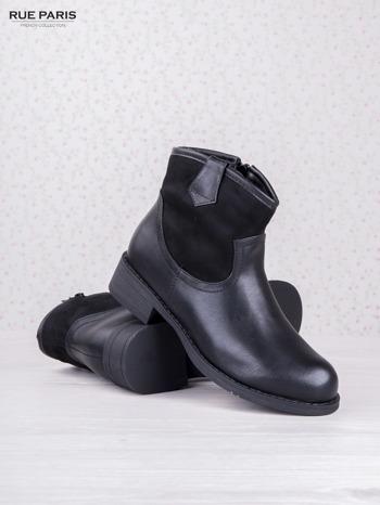 Czarne skórzane botki dual eco leather z zamszową cholewką za kostkę na klocku                                  zdj.                                  3