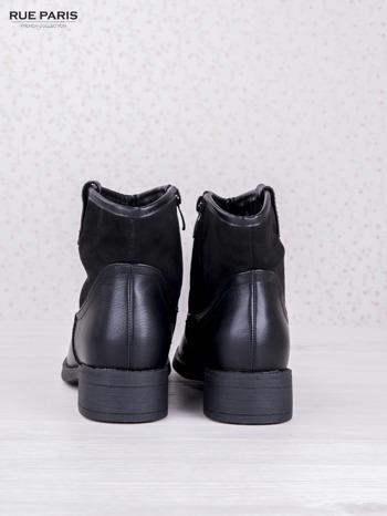 Czarne skórzane botki dual eco leather z zamszową cholewką za kostkę na klocku                                  zdj.                                  4