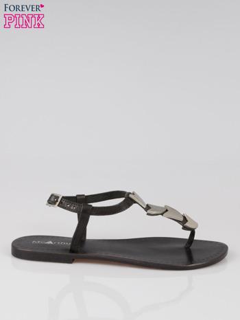 Czarne skórzane sandały japonki ze złotą aplikacją