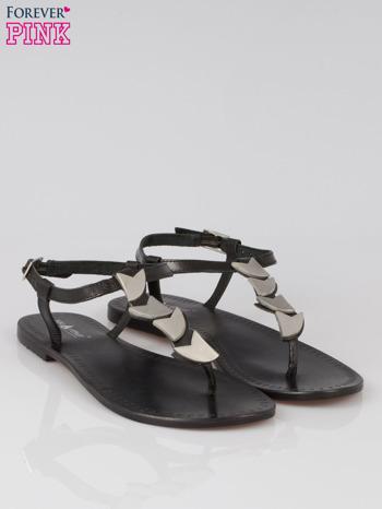 Czarne skórzane sandały japonki ze złotą aplikacją                                  zdj.                                  2