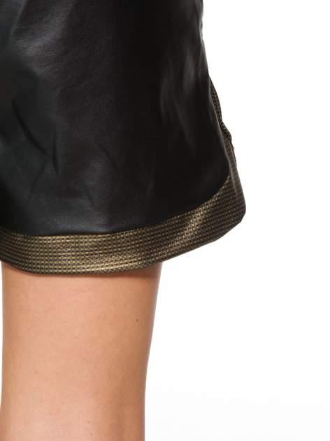 Czarne skórzane szorty ze złoto-srebrnym wykończeniem                                  zdj.                                  5