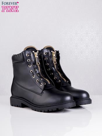 Czarne skórzane traperki leather Fancy ze złotym suwakiem i dodatkami                                  zdj.                                  2