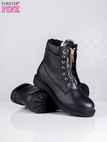 Czarne skórzane traperki leather Fancy ze złotym suwakiem i dodatkami                                  zdj.                                  3