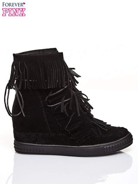 Czarne sneakersy damskie z frędzlami