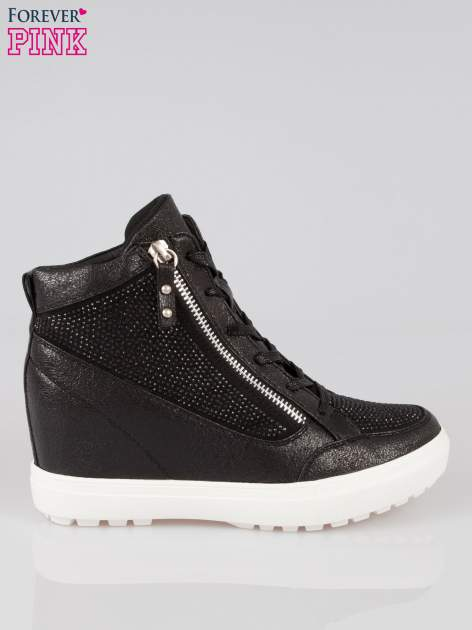 Czarne sneakersy damskie z kryształkami                                  zdj.                                  1