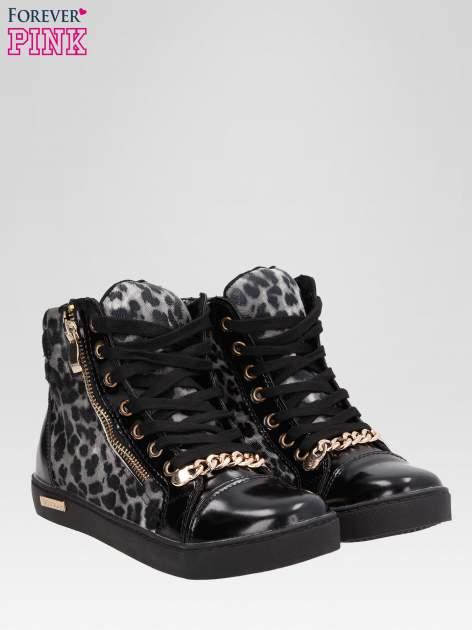 Czarne sneakersy damskie z motywem panterki                                  zdj.                                  2