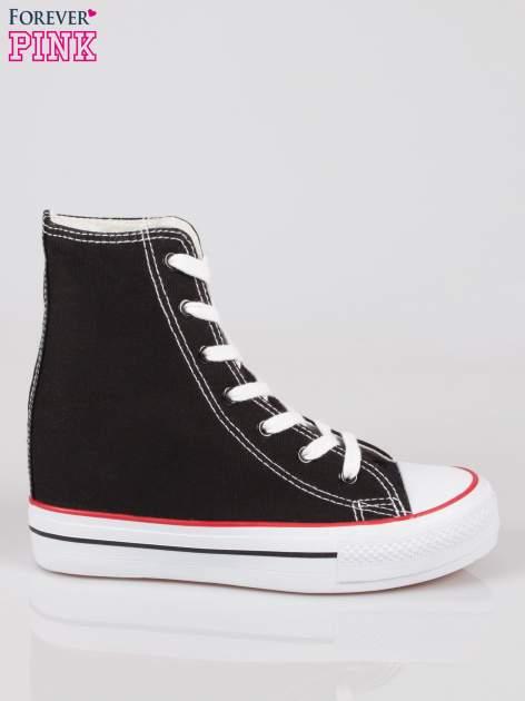 Czarne sneakersy trampki damskie na koturnie
